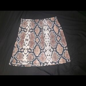 snake print body con skirt